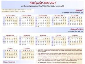 Calendar şcolar gimnazial teoretic 2020-2021 orizontală
